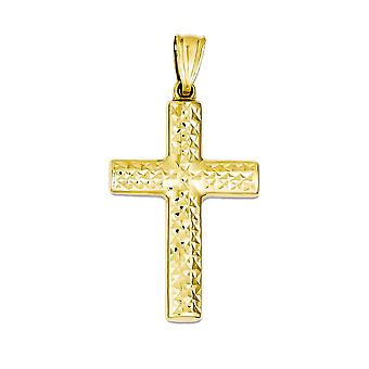 14k Yellow Gold Latin Cross Charm Pendant - 36mm