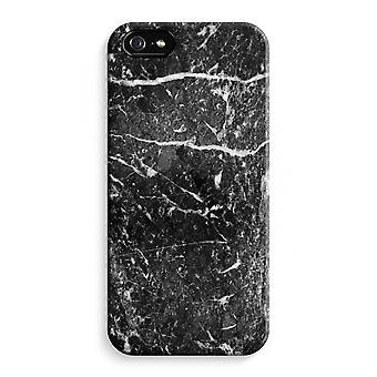 iPhone 5C Full Print Case (Glossy) - Black marble
