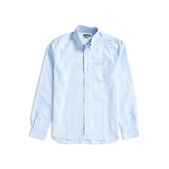 Fred Perry Long Sleeve Heavy Oxford Shirt Light Blue