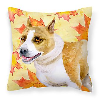 American Staffordshire Fall Fabric Decorative Pillow