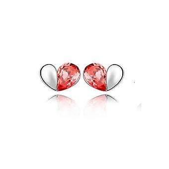 Fire Orange Love Heart Stud Earrings