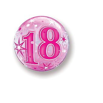 Balloon Bubbel ball number 18 birthday pink star approximately 55 cm