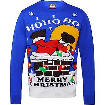 Christmas Mens & Womens 3D Santa Down Chimney Light Up Jumper Sweater
