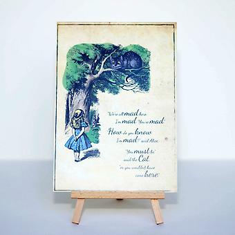 Alice in Wonderland Distressed We are All Mad here card and Easel Party Wedding Sign