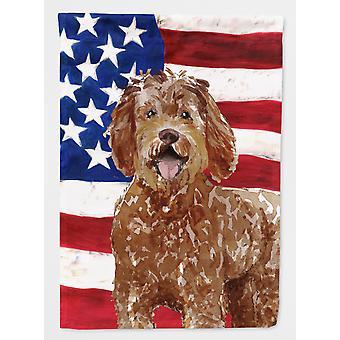 Carolines Treasures  CK1726GF Patriotic USA Labradoodle Flag Garden Size