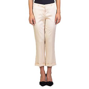 Miu Miu Women's Acetate Viscose Blend Slim Fit Pants Gold