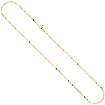 Singapore chain necklace chain 585 Yellow Gold 1.8 mm 50 cm spring ring clasp