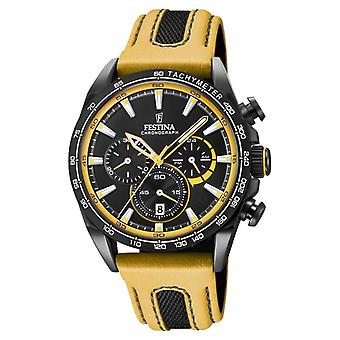 Festina Mens Black PVD Plated Chrono Leather Strap F20351/4 Watch