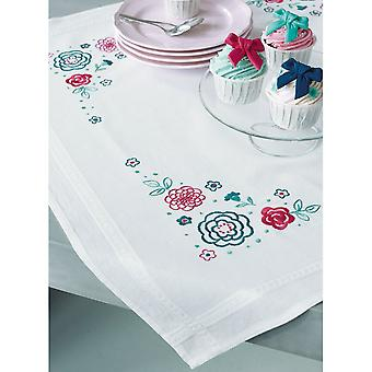 Modern Flowers Tablecloth Stamped Embroidery Kit-32