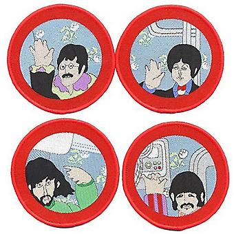 The Beatles Patch Yellow Submarine Portholes Official 4x Circular Set (8cm)