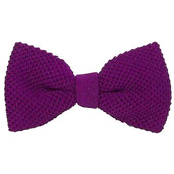 40 Colori Solid Pre-Tied Silk Bow Tie - Purple