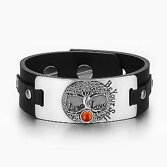 Livets træ Live kærlighed være din Self keltiske Amulet rød Jasper Gemstone sort læder armbånd