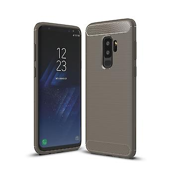Samsung Galaxy S9 + TPU case carbon fiber optics brushed protection cover grey