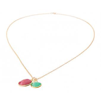 Ladies - necklace - Emerald - red - green pendant - Ruby - – 925 silver plated - 45 cm