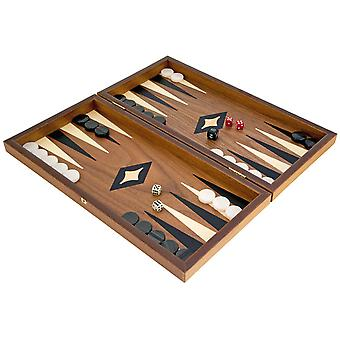 Manopoulos Compact Walnut and Maple Backgammon Set