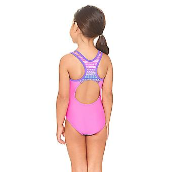 Zoggs Ikat Actionback Swimsuit in Pink / Multi Colour - Chlorine Proof Elastomax Fabric