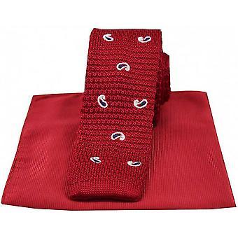 David Van Hagen Paisley Thin Knitted Silk Tie and Ribbed Handkerchief Set - Red
