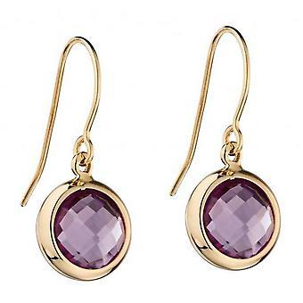 Elements Gold Amethyst Drop Earrings - Purple/Gold