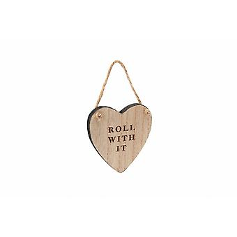 Loft Roll With It Wooden Heart Hanger