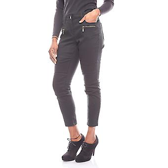 vivance collection ladies of jeans biker-style short size black