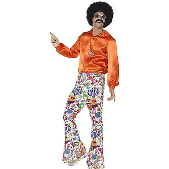 60's Groovy Flared Trousers, Mens, Multi-Coloured