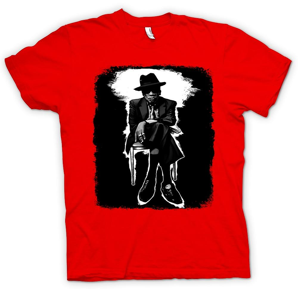 Mens T-shirt-John Lee Hooker Blues - BW - Pop-Art