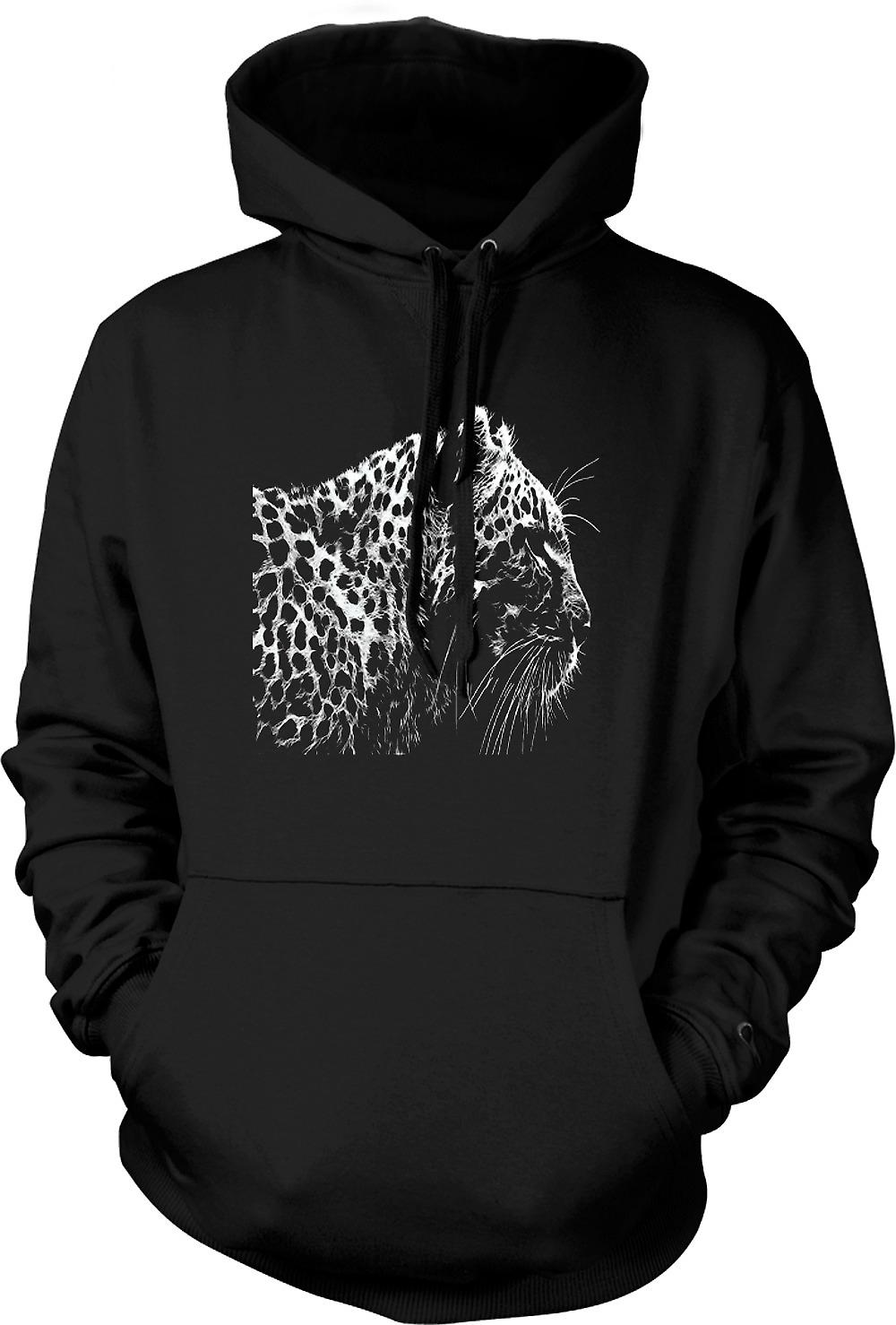 Mens Hoodie - Leopard  And White Photo