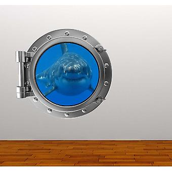 Full Colour Shark Porthole Ocean Wall Sticker