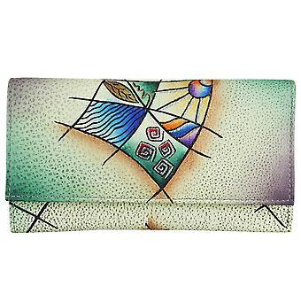 Artisanat d'art de terre verte en cuir sac à main pochette sac à main unique 8221