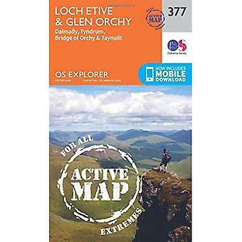 OS Explorer mapa ativo (377) Loch Etive e Glen Orchy (Explorer OS mapa ativo)
