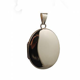 9ct Gold 30x24mm schlicht ovales Medaillon
