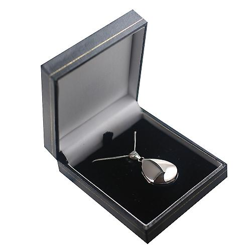9ct White Gold 30x20mm plain teardrop Locket with a curb Chain 16 inches Only Suitable for Children