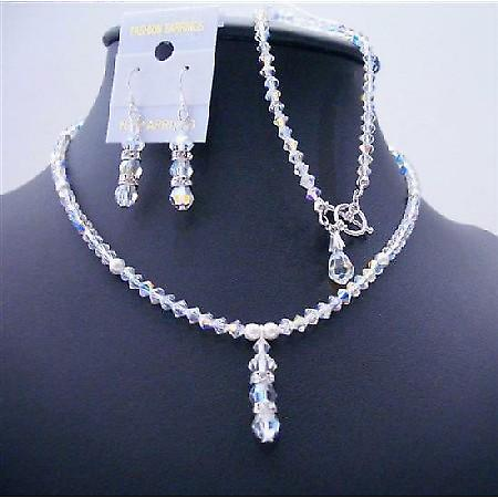 AB Crystals White Pearls Drop Down Complete Set Sleek Party Jewelry
