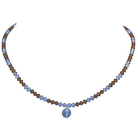 Teens Girls Swarovski Necklace Gift Smoked Topaz Aquamarine Crystals