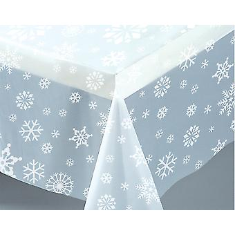 Clear Snowflake Plastic Table Cover (137cm x 274cm)