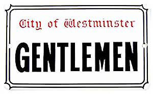 Gentlemen medium sized enamelled steel sign