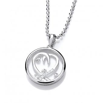Cavendish French Celestial Silver and CZ Entwined Heart Pendant with Silver Chain