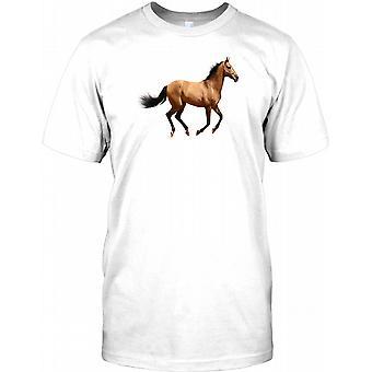 Schöne braune Pferd im Galopp - Herren-T-Shirt