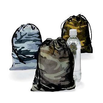 12 Polyester Kids Army Camouflage Print Drawstring Bags   Kids Party Loot Bags