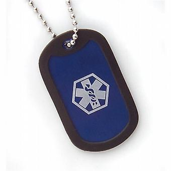 Fashion Alert Boys Aluminium Medical ID 5cm Blue Dog Tag Necklace on 18