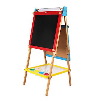 Tidlo Wooden Height Adjustable Double-Sided Art Easel, Paint Draw Colour