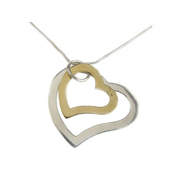 Cavendish French Sterling Silver and Gold Plate Hearts Pendant