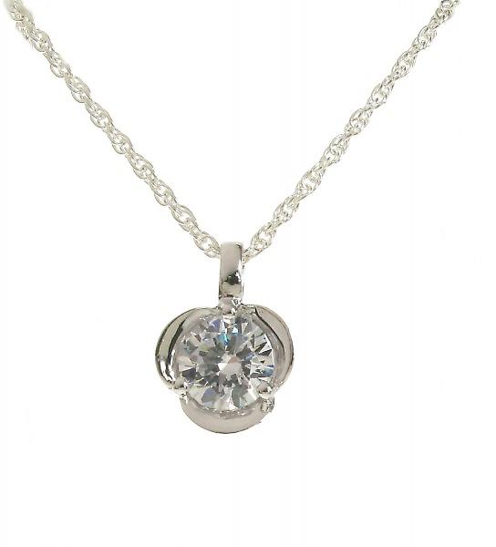 Cavendish French Silver and CZ Triple Petal Pendant