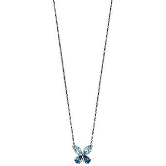 Elements Gold Semi Precious Butterfly Necklace - Blue/Silver