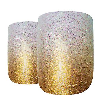 False nails by bling art gold gel ombre french squoval fake medium acrylic tips