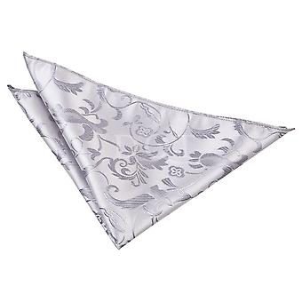 Silver Passion Floral Patterned Handkerchief / Pocket Square