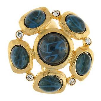 Kenneth Jay Lane raso anello in oro placcato e cristallo Cluster