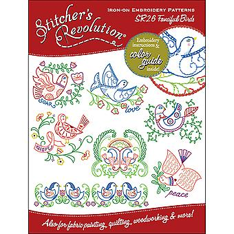 Stitcher's Revolution Iron-On Transfers-Fanciful Birds SR-26