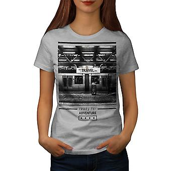 Travel Adventure Fashion Women Grey T-shirt | Wellcoda