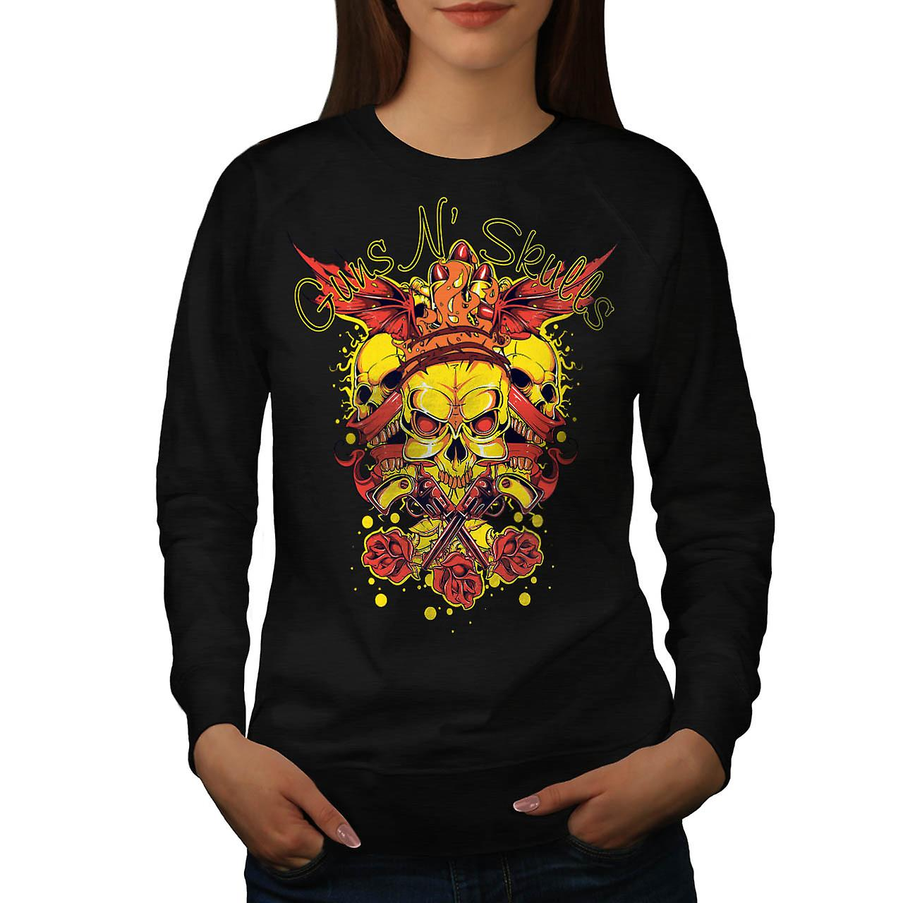 Guns And Skulls Brawl King Demon Women Black Sweatshirt | Wellcoda